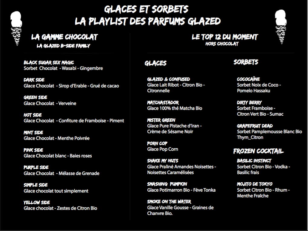 Menu Glaces Glazed Salon du Chocolat 2017